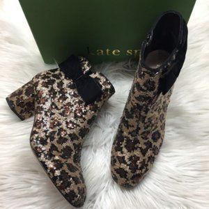 Kate Spade Leopard Sequined Booties 10M